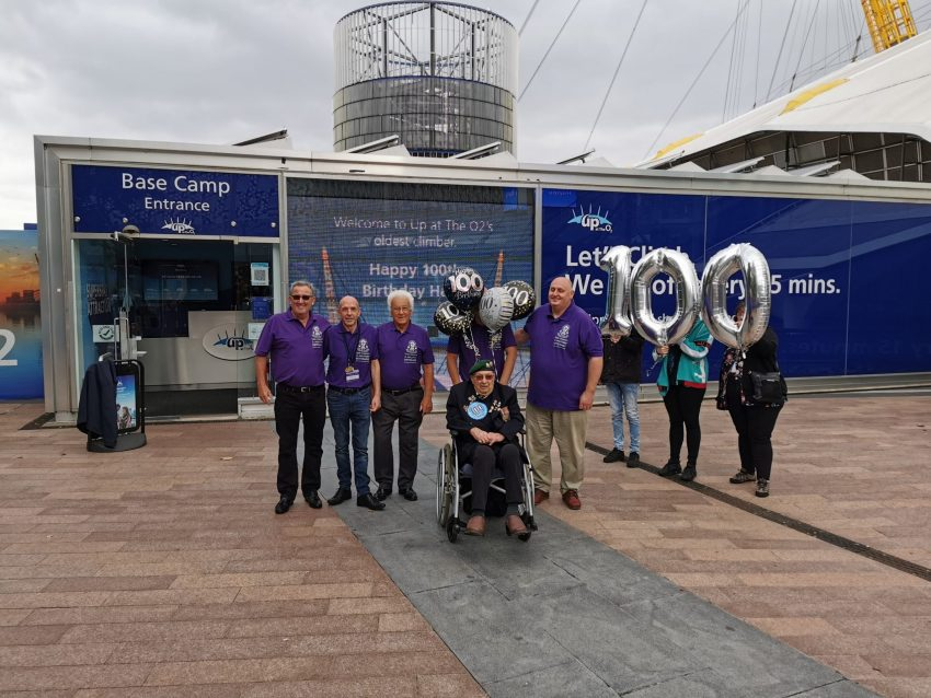 Veteran Harry White goes over the O2 on his 100 birthday