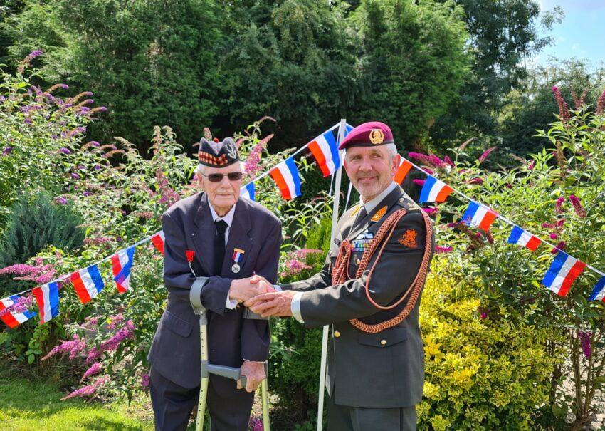 WWII Veteran Walter Knight with Lt Col Rob Arts 2